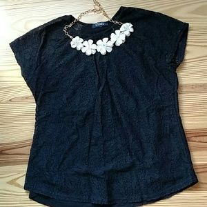 Chaps Black Short Sleeve Lace Tee